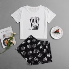 Cartoon And Letter Graphic Pajama Set