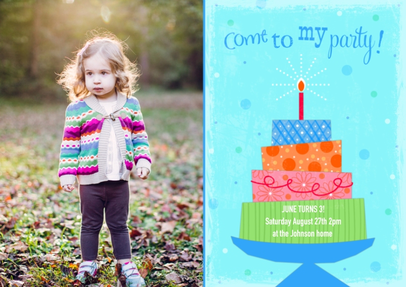 Kids Birthday Party Invites 5x7 Cards, Premium Cardstock 120lb, Card & Stationery -Party Cake