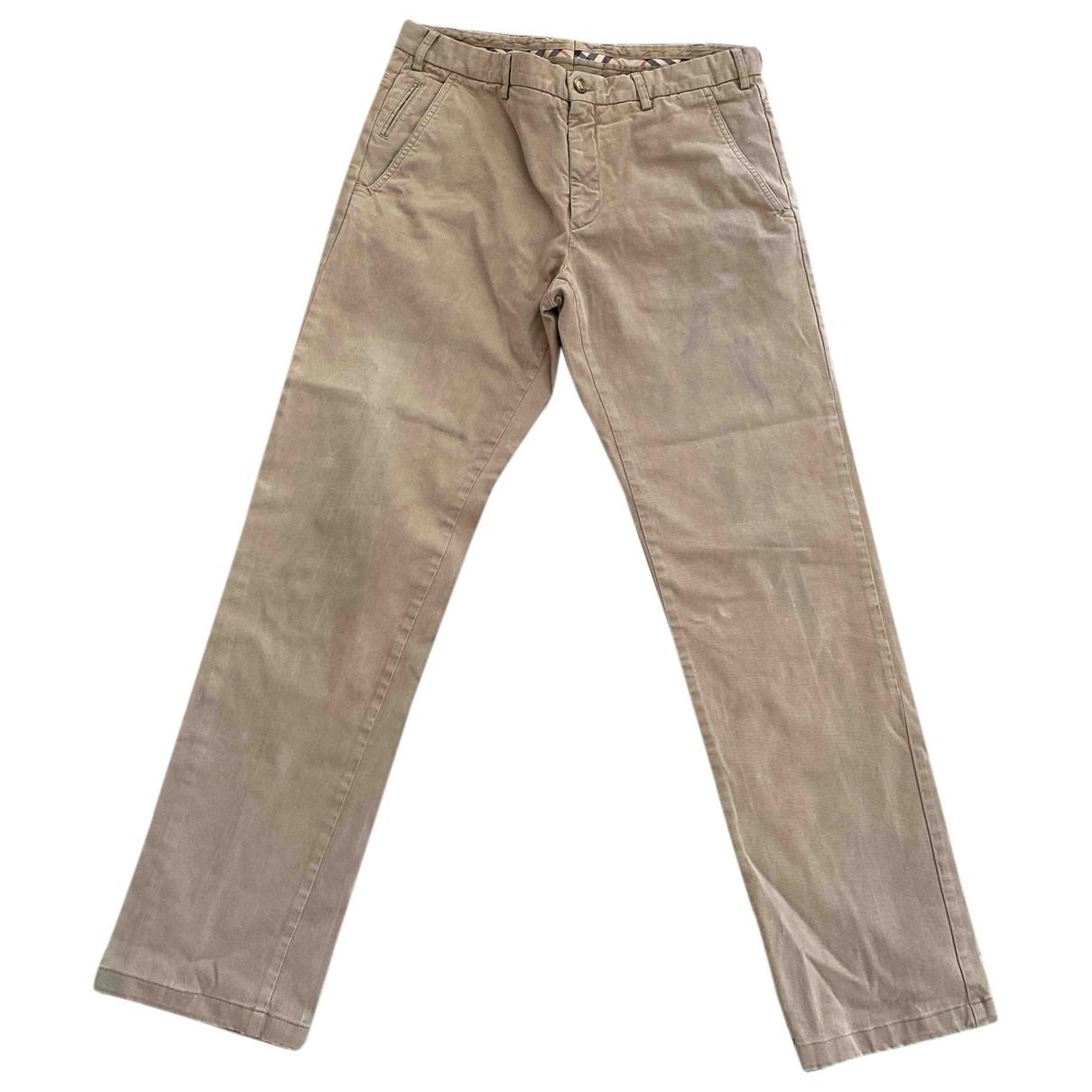 Burberry \N Ecru Cotton Trousers for Men 50 IT