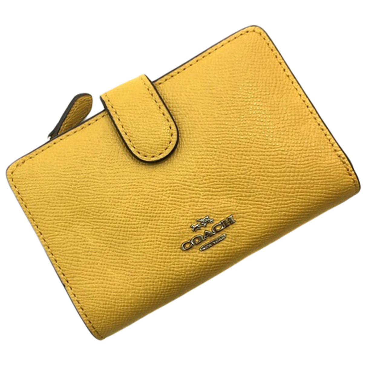 Coach - Portefeuille   pour femme en cuir - jaune