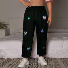 Jogginghose mit Schmetterling Muster und elastischer Taille