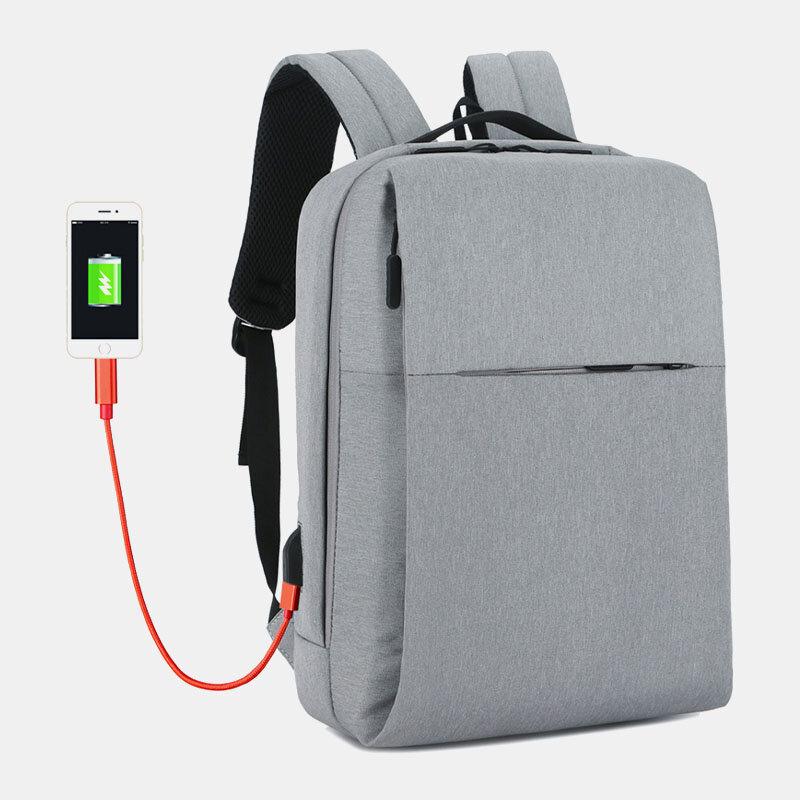 Men Polyester USB Charging Large Capacity Business Laptop Bag Backpack