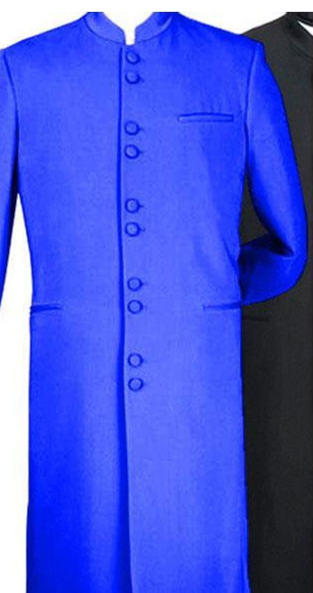 Mens Blue Mandarin Banded Collar Matrix Long Style Suit