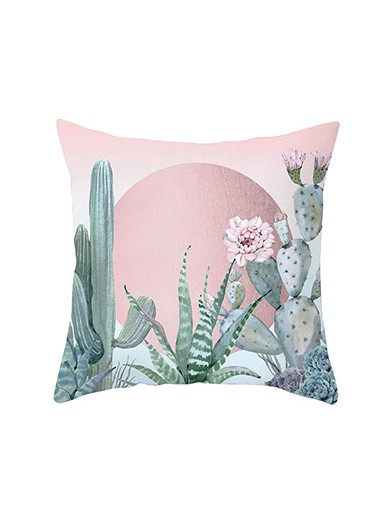 1pc 45 X 45cm Flower Detail Pink Pant Print Pillowcase Without Filler - One Size