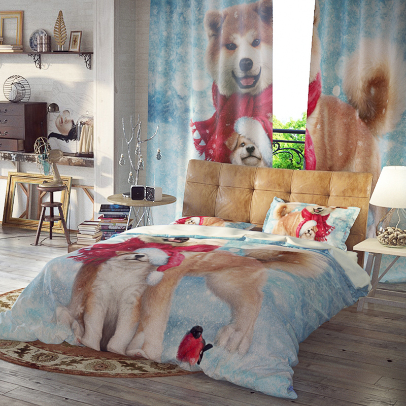 Shiba Inu Reactive Printing Three-Piece Set Duvet Cover Set Polyester Bedding Sets