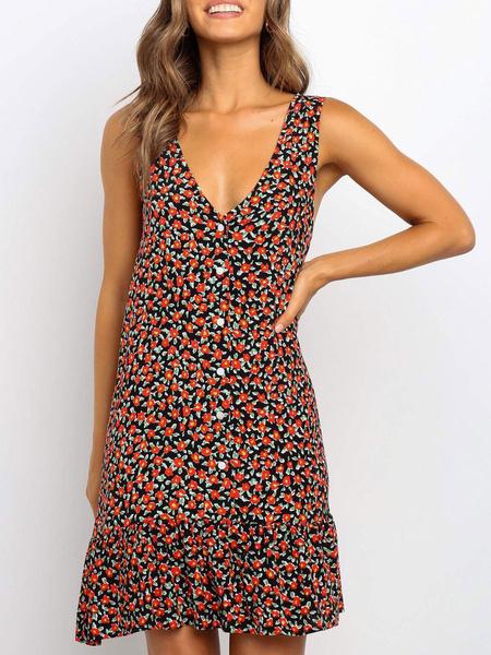 Milanoo Vestido de verano floral Vestido de playa sin mangas con volantes y cuello en V