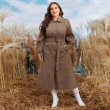 Mantel mit Karo Muster, Guertel, einreihiger Knopfleiste und Taschen