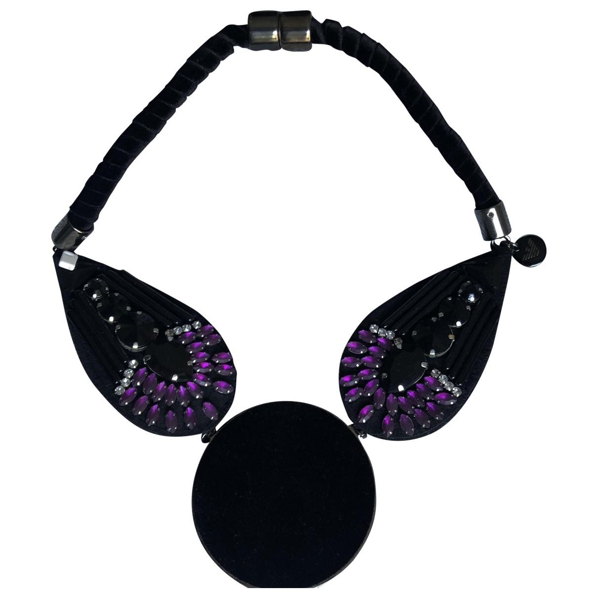 Emporio Armani - Collier   pour femme en toile - noir