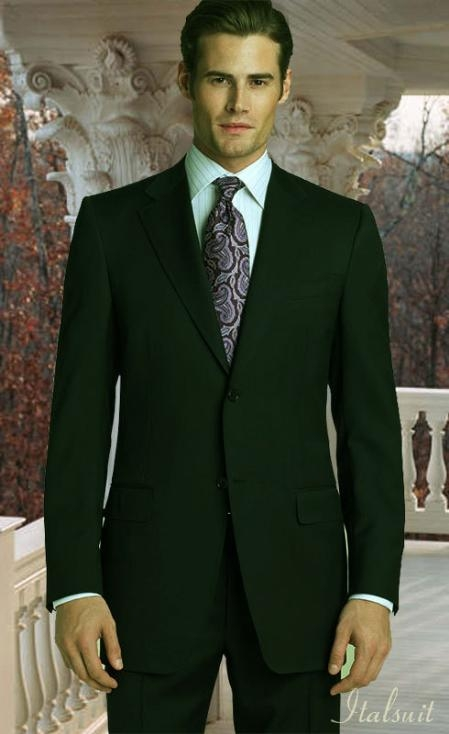 2Button Olive Green Suit 100% Wool With Hand Pick Stitching on Lapel