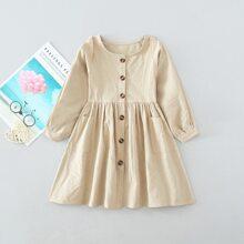 Toddler Girls Dual Pockets Button Front Dress