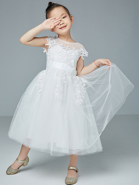 Milanoo Flower Girl Dresses Jewel Neck Polyester Cotton Sleeveless Knee Length Princess Silhouette Embroidered Kids Social Party Dresses
