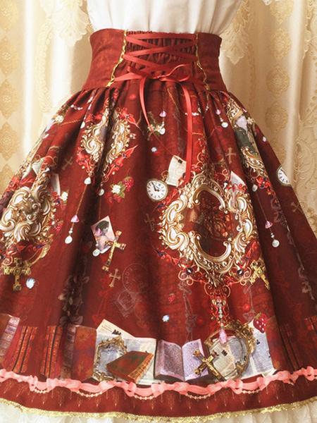 Milanoo Classic Lolita Skirt Print Lace Trim Ruffle Bow Pleated Chiffon Lolita Skirt