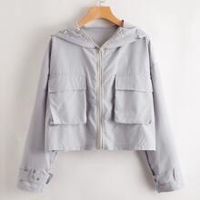 Winddichte Jacke mit Taschen Flicken und Reissverschluss