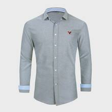 Men Embroidery Button Up Shirt