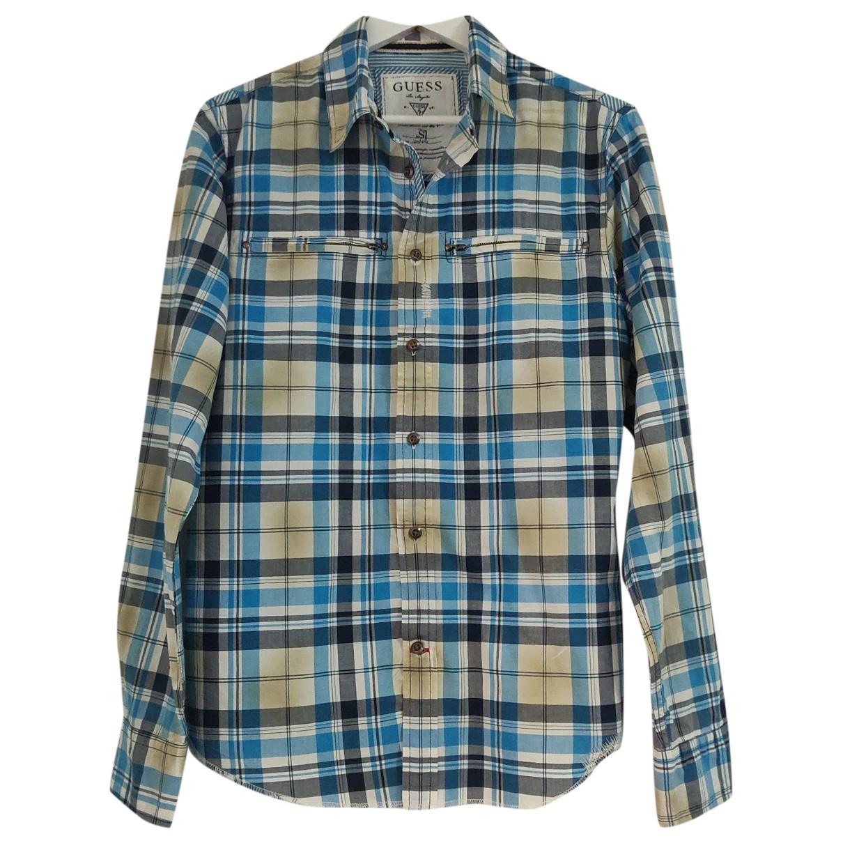 Guess - Chemises   pour homme en coton - bleu