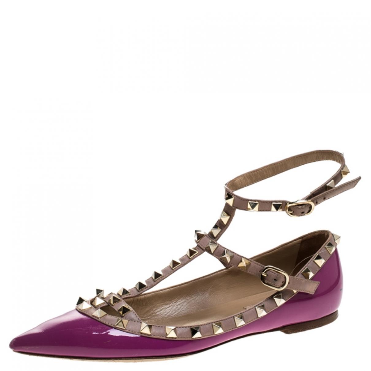 Valentino Garavani - Ballerines Rockstud pour femme en cuir - violet