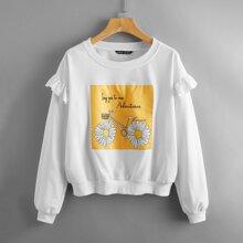 Daisy And Slogan Graphic Ruffle Sweatshirt