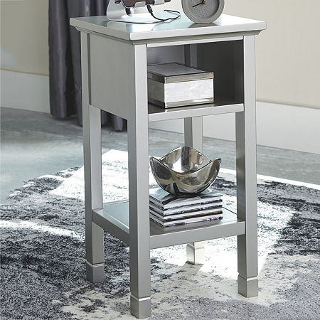 Signature Design by Ashley Marnville Chairside Table, One Size , Silver