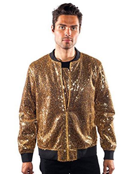 Mens barabas galm gold Shiny Sequin blazer