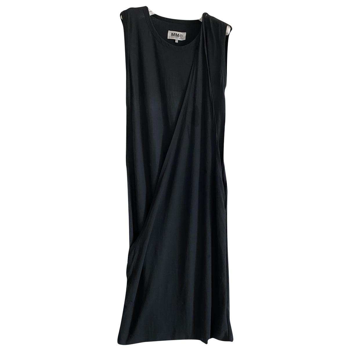 Mm6 \N Kleid in  Schwarz Baumwolle