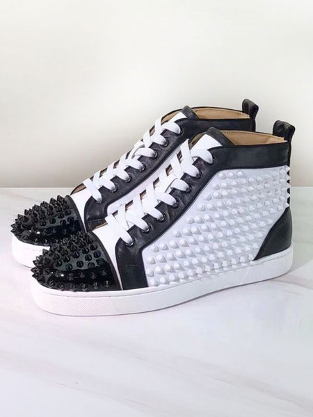 Milanoo Mens Sneakers 2020 White Round Toe Rivets lace up High top Casual Skate Shoes