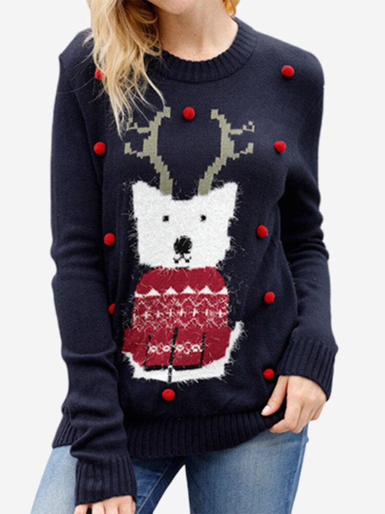 Christmas Cartoon Elk Sweater Round Neck Knit Warm Sweater