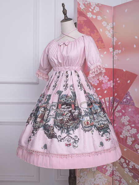 Milanoo Sweet Lolita OP Dress Strawberry Witch Bows Cross Front Lolita One Piece Dresses
