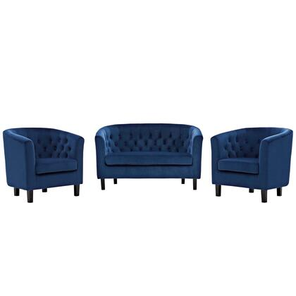 Prospect Collection EEI-3152-NAV-SET 3 Piece Loveseat and Armchair Set with Espresso Stained Wood Legs  Non-Marking Foot Caps  Dense Foam Padded Seat