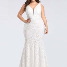 Plus Solid Fitted Mermaid Dress