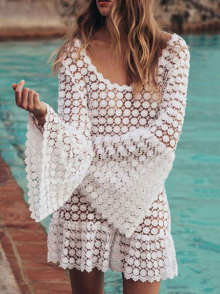 Milanoo Women Cover Ups White Lace Lace Jewel Neck Long Sleeves Backless Polyester Summer Sexy Swimming Suits