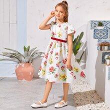 Girls Petal Sleeve Floral Satin Dress