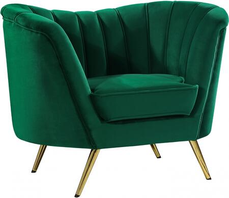 Margo Collection 622Green-C 43 Chair with Gold Stainless Steel Legs  Rounded Arms and Velvet Upholstery in