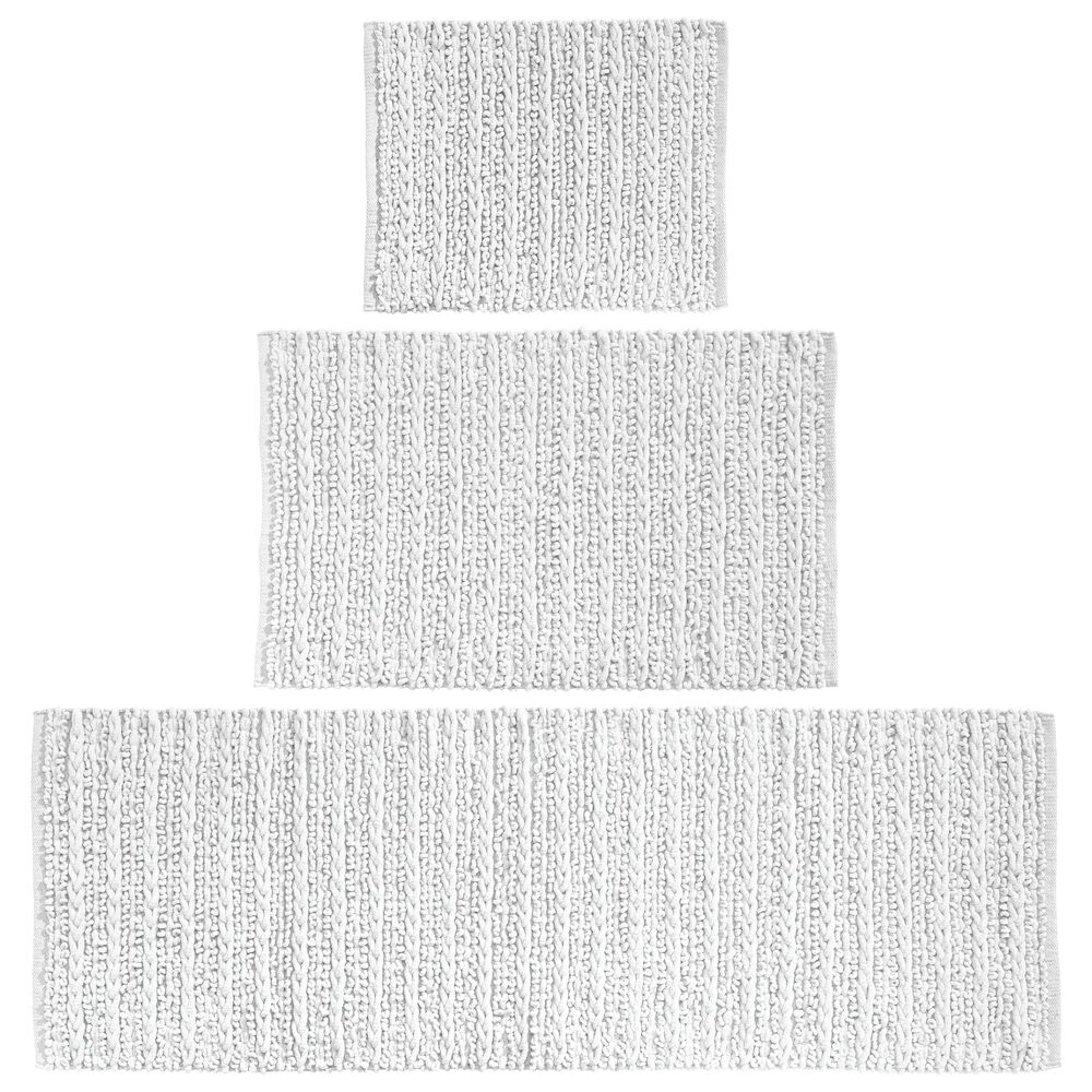 mDesign Cotton Spa Bath Mats with Braided Design - Set of in White, 17
