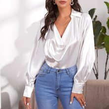 Draped Front Solid Satin Top
