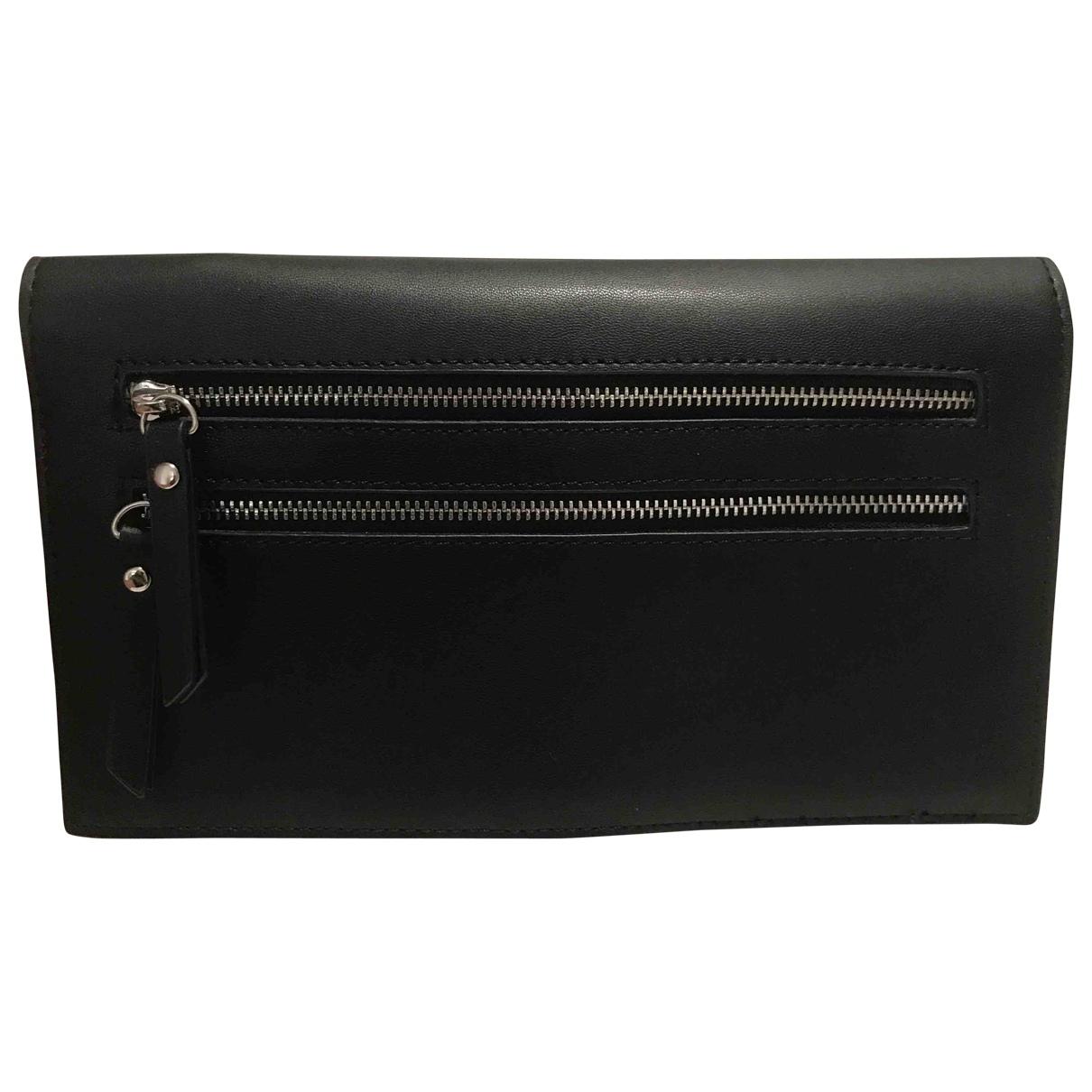 Topshop - Portefeuille   pour femme en cuir - noir
