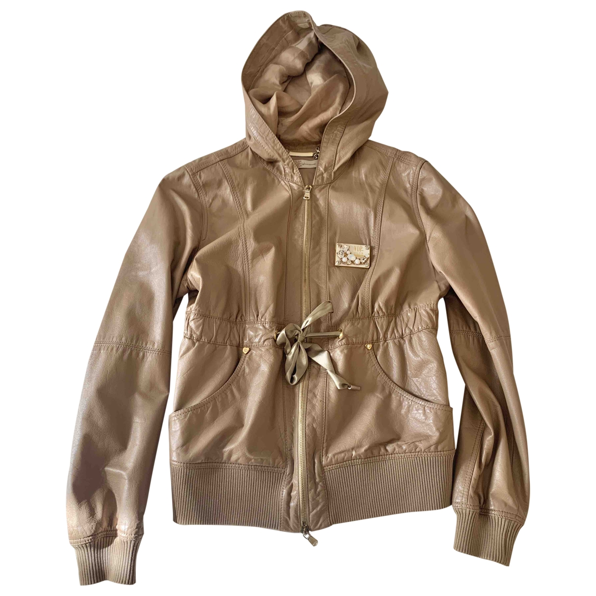 Non Signé / Unsigned \N Beige Leather jacket for Women 42 IT