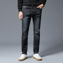 Jeans mit Kontrast Stich und geradem Beinschnitt