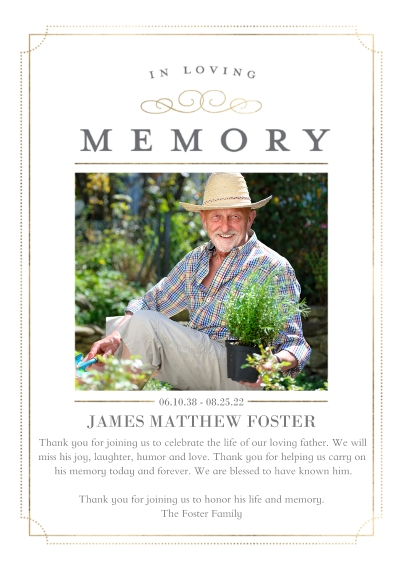 Sympathy 5x7 Cards, Premium Cardstock 120lb with Scalloped Corners, Card & Stationery -Memorial Sympathy Framed by Tumbalina