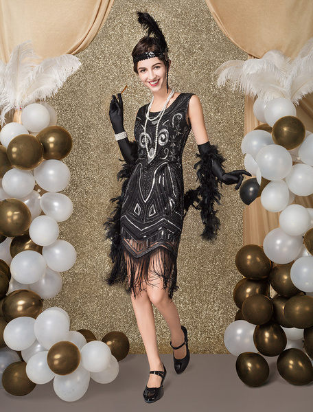 Milanoo Great Gatsby Flapper Dress 1920s Fashion Style Vintage Costume Women's Black Sequined Tassels 20s Party outfits Dress Costume Halloween