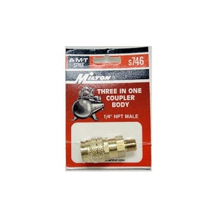 Milton Industries S-746 - 3 Way 1/4 In Male Body A, M And T