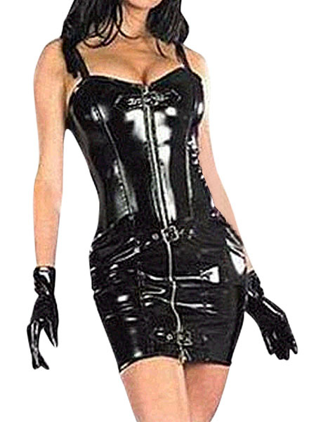Milanoo Disfraz Halloween Negro Sexy Leotardo Bodysuit Latex PVC Disfraz Halloween