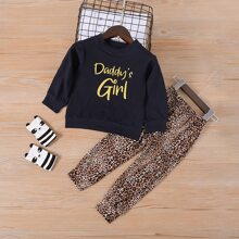 Toddler Girls Letter Graphic Sweatshirt With Leopard Sweatpants
