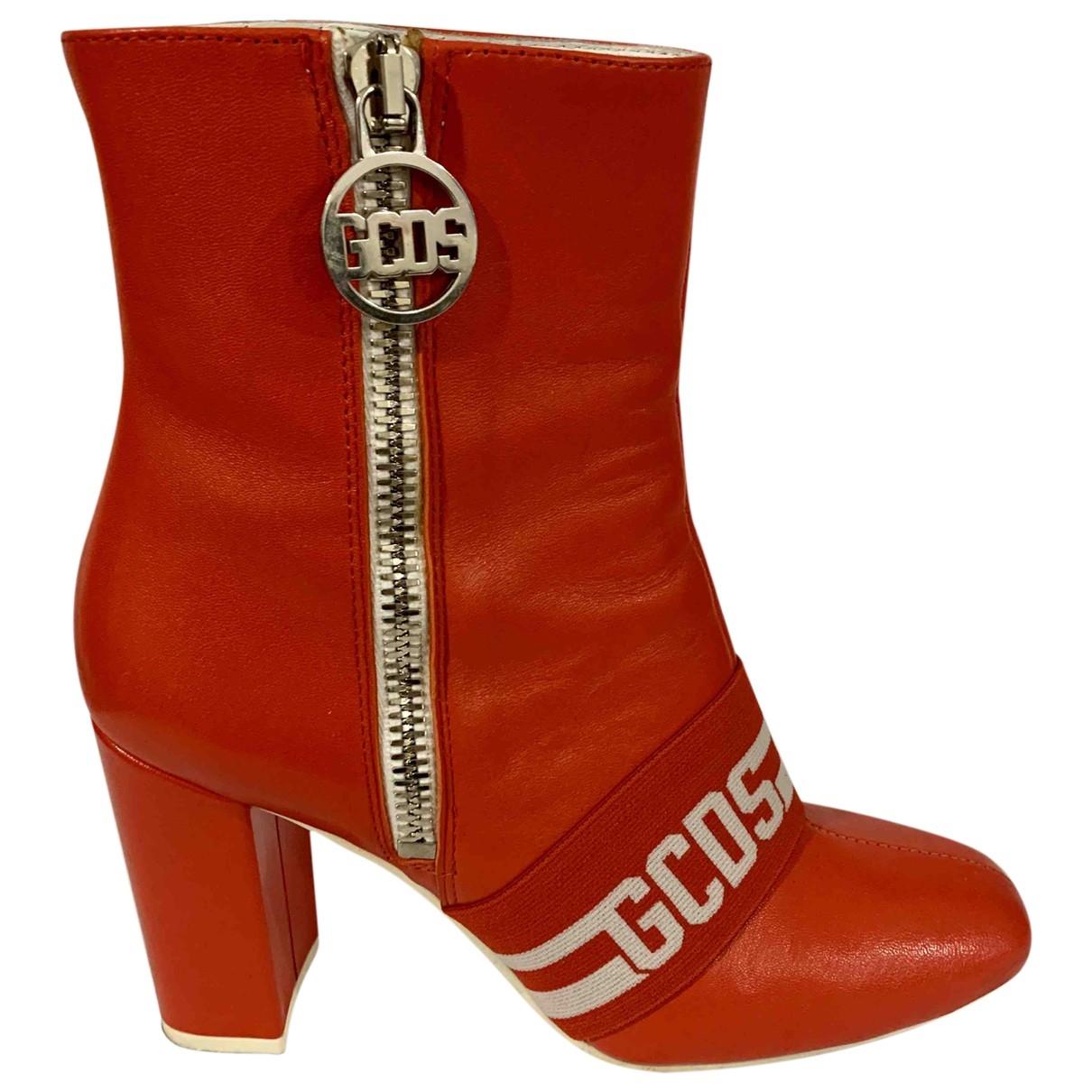 Gcds - Boots   pour femme en cuir - rouge
