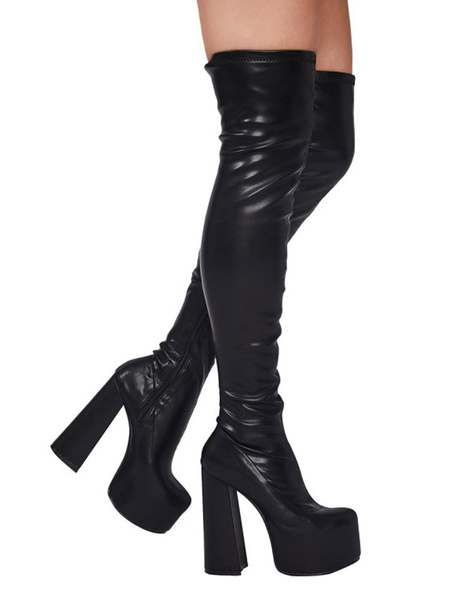 Milanoo Women Over The Knee Boots PU Leather Black Skinny Pointed Toe Thigh High Boots