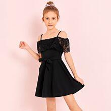 Girls Guipure Lace Trim Cold Shoulder Dress