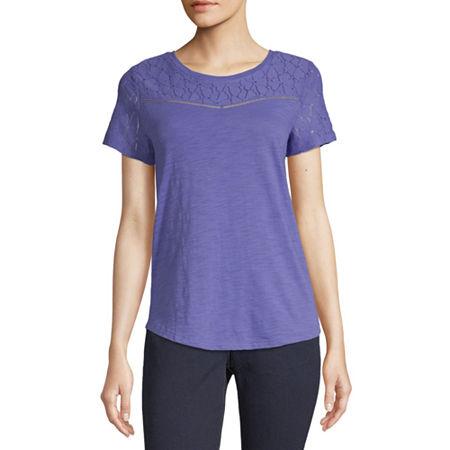 Liz Claiborne-Womens Round Neck Short Sleeve T-Shirt, Petite X-large , Purple