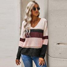 Color-block V-neck Drop Shoulder Sweater