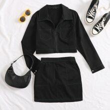 Zip Up Wip Stitch Crop Jacket & Skirt Set