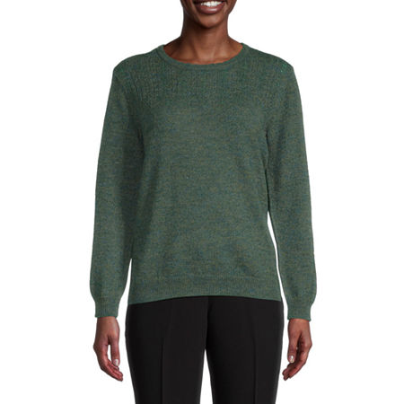 Alfred Dunner Classics Womens Crew Neck Long Sleeve Pullover Sweater, X-large , Green