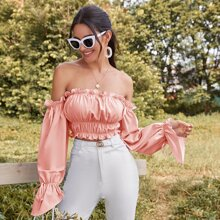 Solid Frill Trim Ruched Bust Crop Bardot Top